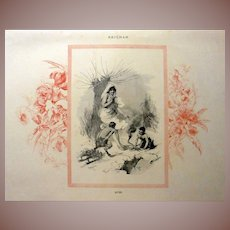 Signed French Winter Engraving 'Hiver'  c1860. Four Seasons