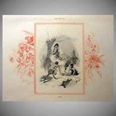 Mid Victorian Four Seasons Signed French Winter Engraving 'Hiver'  c1860.