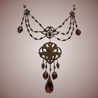 SALE: Czech style Brass Art Glass and Amethyst Lavalier Bib Statement Necklace. Wow.
