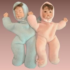 SALE:  Pair of Miniature Infant Dolls with Porcelain Hands and Faces.