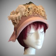 Rare Designer Pink Silk Straw, Net and Millinery Flowers Cloche Hat c1930's