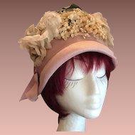 Rare Designer Pink Silk Straw, Net and Millinery Flowers Cloche Hat c1930's