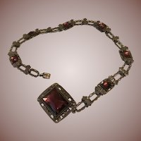 Edwardian Filigree 800 Silver and Amethyst French Choker Necklace