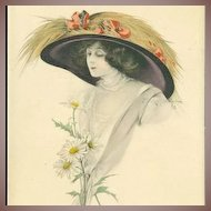 SALE: English Tuck's Photogravure Colored 'Beautiful Lady' Postcard