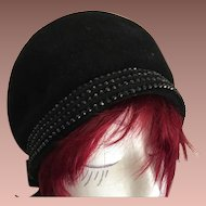 SALE: Superb Italian Designer Black French Velour and Jet Bead Cloche Hat