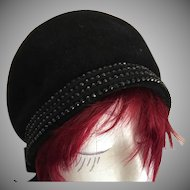 SALE:  Black French Velour and Jet Bead Cloche Hat..Italian Label