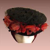 SALE: Victorian Black Felt and Velvet Flower Hat..very Downton Abbey