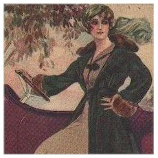 Signed Corbella Art Deco Lady with Automobile Italian Postcard