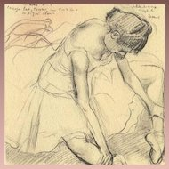 SALE: SIgned French Vintage Degas Melina Darde Ballet Small Lithograph