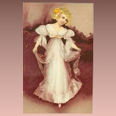 Gilded and Embossed French Postcard 1918