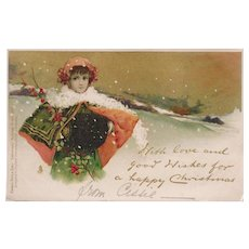 SALE: Antique Edwardian Gilded Chromo English Tuck Girl in the Snow Christmas Postcard 1902.
