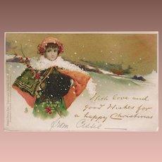 SALE: Antique Edwardian Gilded Chromo English Tuck Girl in the Snow Christmas Postcard 1902.