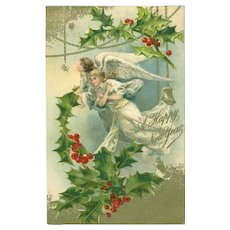 SALE: Antique English Angels and Holly Embossed Gilded Christmas New Year Postcard 1906