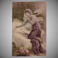 SALE: French Art Nouveau New Year Maiden in the Snow Postcard c1900