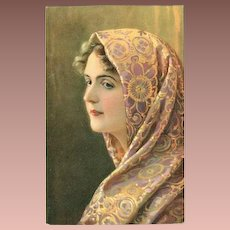 SALE: German Artist Woman in a Brocade Shawl Postcard.