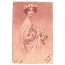 SALE: Art Nouveau Bohemian Girl in Pink Floral Coronet Postcard 1905