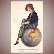 SALE: English Girl with Globe Romantic Postcard 1912.