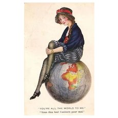 SALE: English Girl with Globe Romantic Postcard 1912.