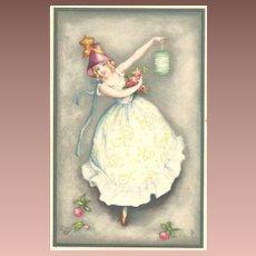 SALE: Signed German Girl with Lantern Torchlight Postcard c1925 Art Deco
