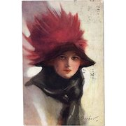 SALE: English Antique Postcard Girl in a Red Feather Hat 1914.