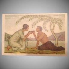 SALE: Art Deco Swiss Signed National Day Celebration Couple Under a Palm Tree Postcard 1917