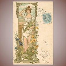 Rare Original French Signed Elizabeth Sonrel Lithographic Postcard 1904