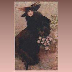 Antique Italian Signed Fashion Lady Postcard 1911.