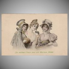 SALE: Antique Christmas Hand Colored New Years Greetings Postcard c1905