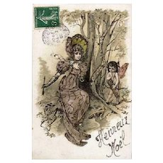 SALE: French Hand Finished Christmas Greetings Postcard 1907.