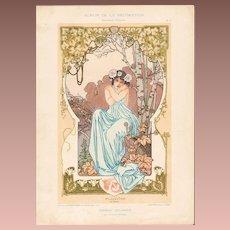 French Art Nouveau Chromo Lithograph 'Pluviose' Album de la Decoration 1900
