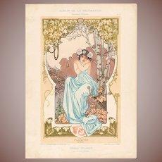 SALE: French Chromo Lithograph 'Pluviose' Album de la Decoration 1900 Art Nouveau