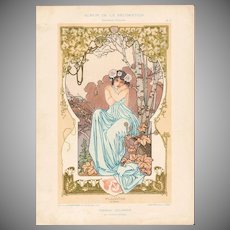 SALE: French Chromo Lithograph 'Pluviose' Album de la Decoration 1900 Art Nouveau