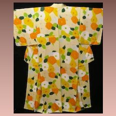 Art Deco Abstract Design Silk Floral Kimono c1925