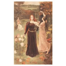 SALE: French Chromo Lithograph 'L'Automne' Album de la Decoration 1900.