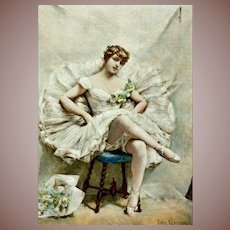 SALE: Signed Original Hand Colored French Ballet Etching Une Etoile 1882