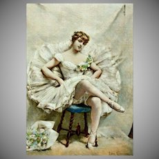 Signed Original Hand Colored French Ballet Etching Une Etoile 1882