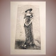 SALE: French Sarah Bernhardt Etching Young Girl and Death 1880..Rare.