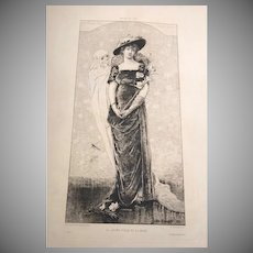 Rare French Sarah Bernhardt Etching Young Girl and Death 1880