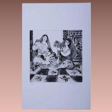 Modernist Orientalist Signed Harem Numbered Etching 4/30