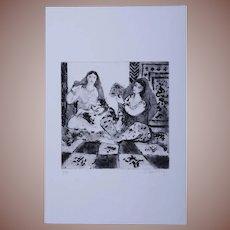 SALE: Modernist Orientalist Signed Harem Numbered Etching 4/30