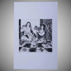 SALE: Modernist Orientalist Signed Harem Numbered Etching 4/30