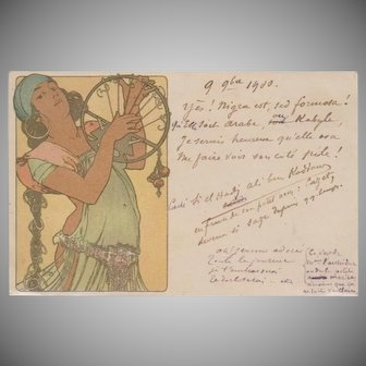 Alphonse Mucha Art Nouveau French 'Salome' Postcard 1900.