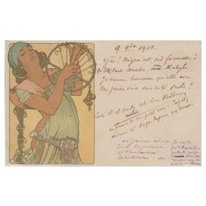 Mucha Art Nouveau French 'Salome' Postcard 1900. Rare.