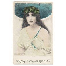 Signed British Daphne Christmas Greetings Postcard c1900