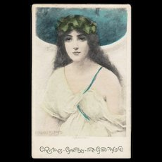 Signed British Daphne Christmas Greetings Postcard c1900