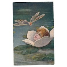 Rare Signed Italian Art Deco Water Lily Maiden and Dragonfly Postcard 1921