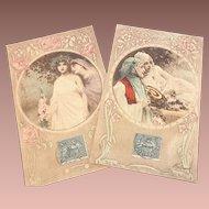 PAIR: 2 Stunning German Studio  Color Photogravure Postcards 1906