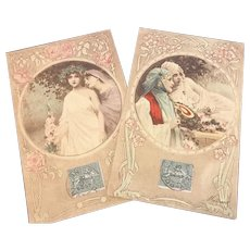 PAIR: 2 Stunning German Studio  Color Photogravure Postcards 1906
