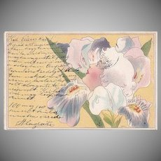 Rare: Slovak Art Nouveau Woman's Face in a Flower Postcard 1900