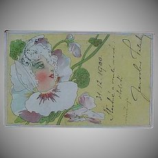 Rare:  Bohemian Lady in a Flower Turn of the Century Postcard 1900/01.